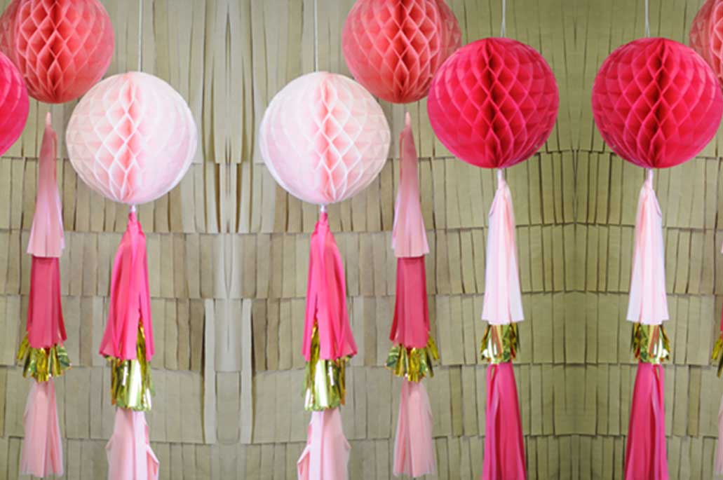 Tissue Ball Tassel Decorations