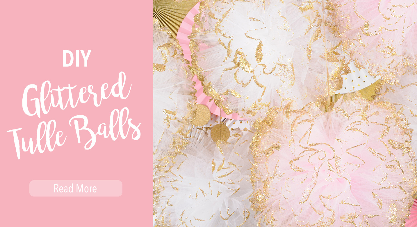 DIY Glittered Tulle Balls Slider
