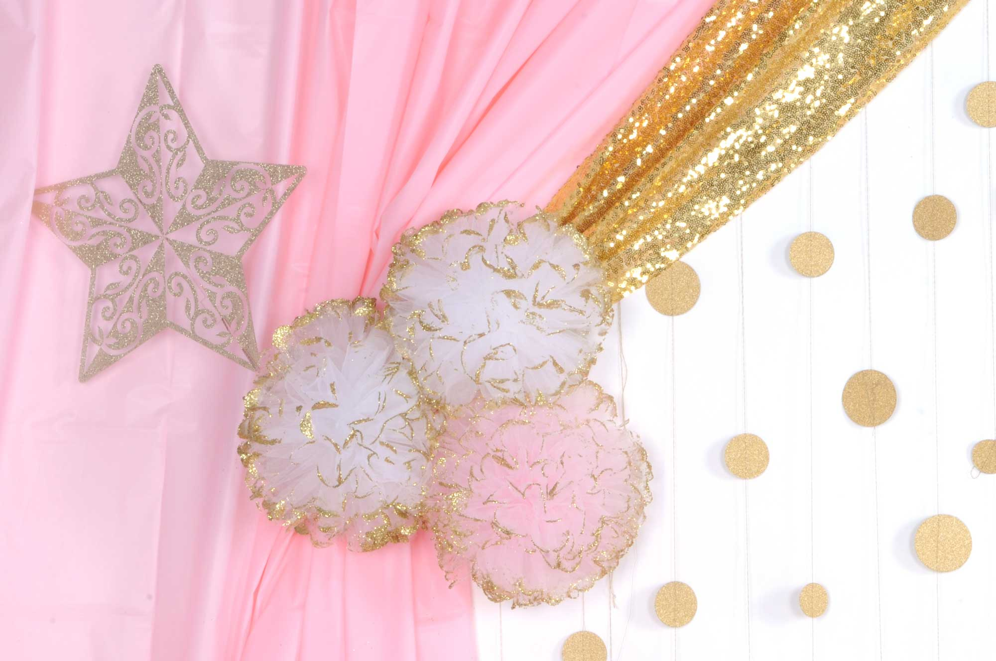 Pink and Gold Tulle Balls