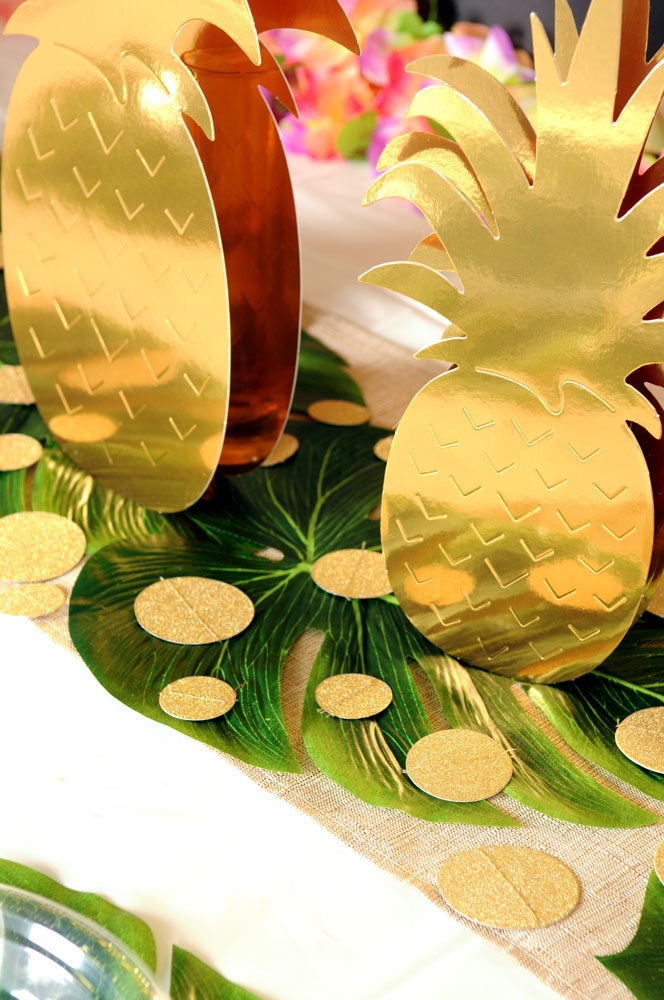 Palm Leaves & Pineapples Gold Pineapple Centerpieces