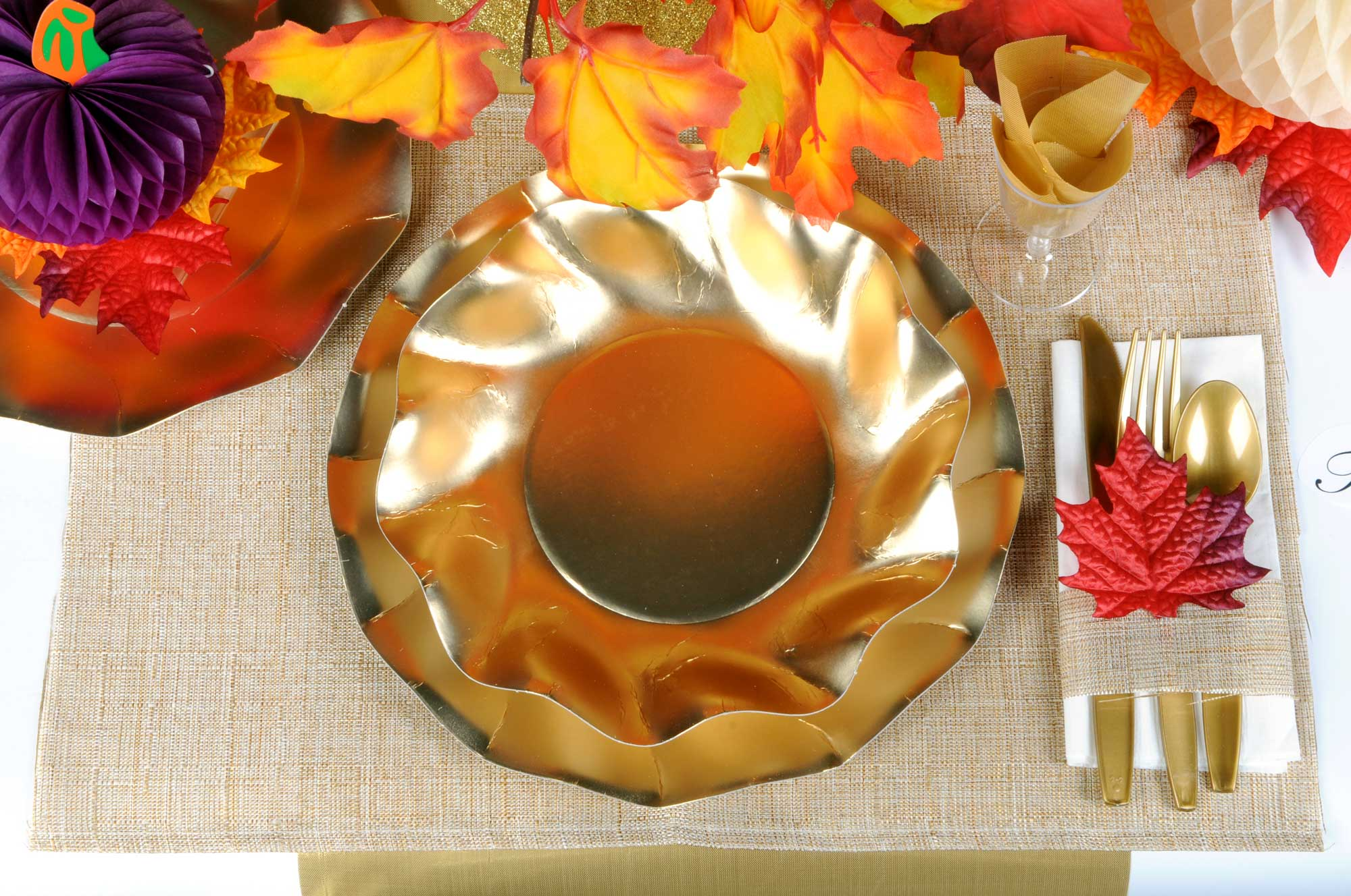 Thanksgiving Table Setting Gold Plates